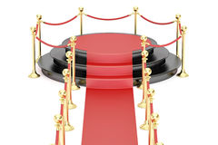 Empty black podium with red carpet and barrier rope. 3D rendering on white background Stock Photography