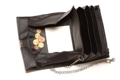 Empty black purse with copy space Stock Photography