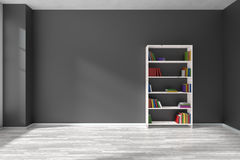 Empty black room with bookshelf interior Royalty Free Stock Photos