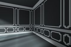 Empty black room corner with white classic style decor on walls Royalty Free Stock Photography