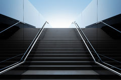 Empty black stairs. In pedestrian subway. 3D Render Royalty Free Stock Photo