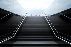 Empty black stairs with skyline. Empty black stairs in pedestrian subway with dull sky. 3D Render Royalty Free Stock Photos
