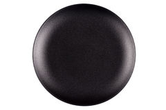 Empty black stoneware plate Stock Photo