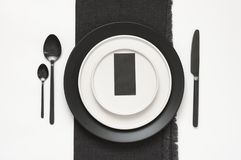 Black and white tableware Stock Images