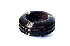Empty black wood ashtray Royalty Free Stock Photos
