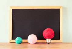 Empty blackboard and bulb idea concept made from wool balls Stock Photography