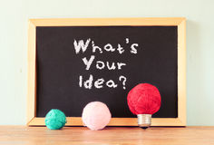 Empty blackboard and bulb idea concept made from wool balls Stock Photo