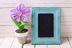 Empty blackboard and decorative flower in pot Stock Photography