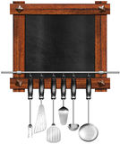 Empty Blackboard with Kitchen Utensils Royalty Free Stock Images