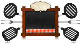 Empty Blackboard with Kitchen Utensils Stock Images