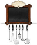 Empty Blackboard with Kitchen Utensils Royalty Free Stock Photography