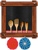 Empty Blackboard with Kitchen Utensils Stock Image