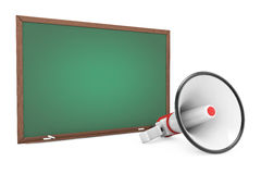 Empty Blackboard with Megaphone. 3d Rendering. Empty Blackboard with Megaphone on a white background. 3d Rendering Stock Photo