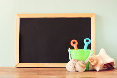 Empty blackboard and over beach landscape Royalty Free Stock Photo