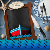 Empty Blackboard for Seafood Menu Royalty Free Stock Photography
