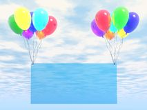 Empty blank. Blue sky and rainbow balloons with empty blank Royalty Free Stock Photo