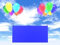 Empty blank. Blue sky and rainbow balloons with empty blank Royalty Free Stock Photos