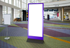 Empty blank billboard in exhibition center,l interior Stock Photo