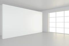 Empty blank billboard in white interior. 3d rendering.  Stock Photo