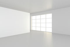Empty blank billboard in white interior. 3d rendering.  Royalty Free Stock Photo