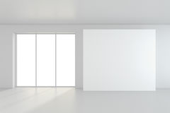 Empty blank billboard in white interior. 3d rendering.  Royalty Free Stock Photography