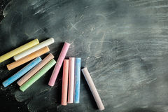 Empty blank black chalkboard Stock Images