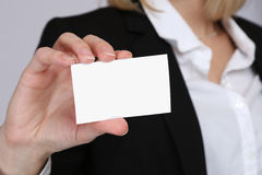 Empty blank business card template hand contact people concept w Royalty Free Stock Photos
