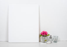 Empty blank canvas on a white background, home interior decor Stock Photos