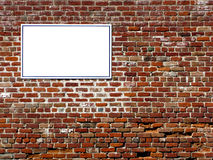 Empty Blank Copy Advertising Sign on Brick Wall Stock Image