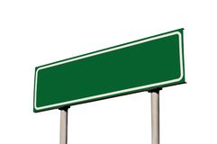 Empty Blank Green Road Sign Guide Post Isolated Royalty Free Stock Images
