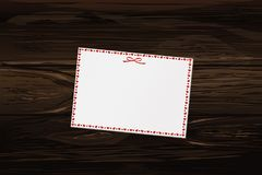 Empty blank with hearts and wings. Card festive. Valentine`s Day. Vector illustration on wooden background Royalty Free Stock Photos