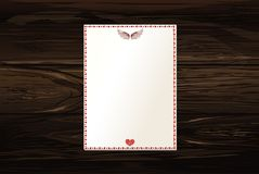 Empty blank with hearts and wings. Card festive. Valentine`s Day. Vector illustration on wooden background Royalty Free Stock Photography