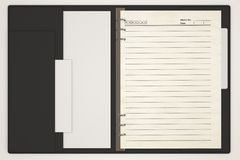 Empty Blank Notebook on white background. 3d Image Stock Photography