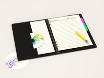 Empty Blank Notebook on white background. 3d Image Stock Image