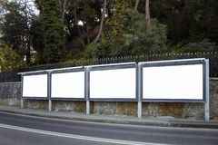 Empty / blank outdoor advertising billboards. By Bosphorus in Istanbul stock photography