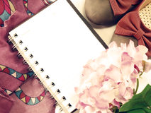 Empty blank paper background with flower with vintage filters color Stock Image