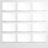 Empty blank paper with white rectangle posters copy space. In flat design. Vector  mockup template on gray background. White sheets or figures equidistant from Royalty Free Stock Photos