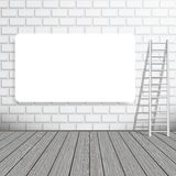 Empty blank poster on a brick wall with a ladder Royalty Free Stock Photography