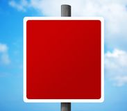 Empty Blank Red Road Sign. Clear Signpost to add your own text. Summer sky background Stock Photo