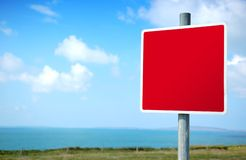 Empty Blank Red Road Sign. Clear Signpost with space for your own symbol or text Stock Photography