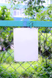 Empty blank sign at a fence Royalty Free Stock Photos