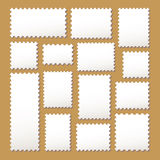 Empty blank white postage mark set. Empty blank postage stamps different size in white color isolated on beige background with shadows. vector illustration Royalty Free Stock Image