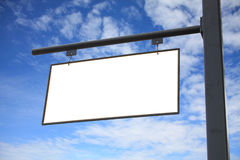 Empty blank white sign hanging outdoor Stock Image