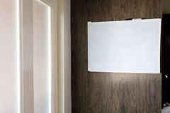 Empty blank whiteboard note reminder. In office place of work Royalty Free Stock Image