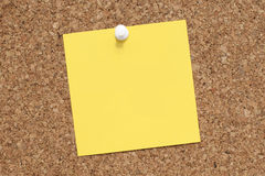 Empty Blank Yellow Adhesive Note Paper On Bulletin Board Royalty Free Stock Image