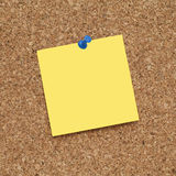 Empty Blank Yellow Adhesive Note Paper On Bulletin Board Royalty Free Stock Photography