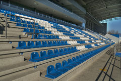 Empty bleachers - Stadium seats Stock Photo