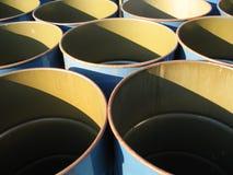 Empty blue barrels. A set of empty blue barrels stock photos
