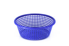 Empty blue basket plastic  on white Stock Image