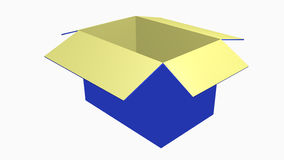 Empty blue box. 3D open empty box in blue color Royalty Free Stock Photography